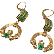 14K Claddah Earrings with Emeralds