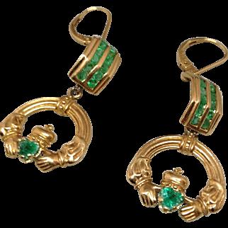 14K Claddah Earrings with Emeralds