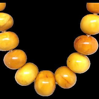 Beautiful Egg Yolk Amber Long Necklace