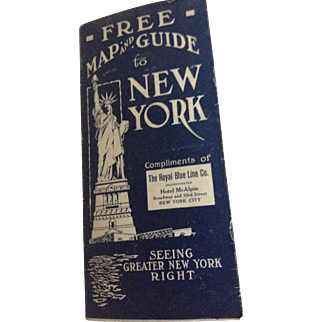 1918 Free Map & Guide to New York