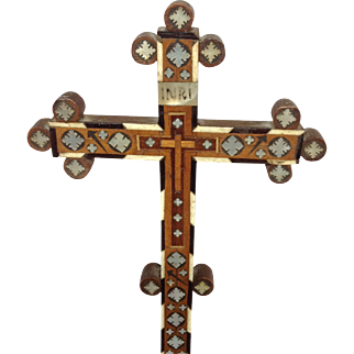 Beautiful Inlaid Wooden French Cross