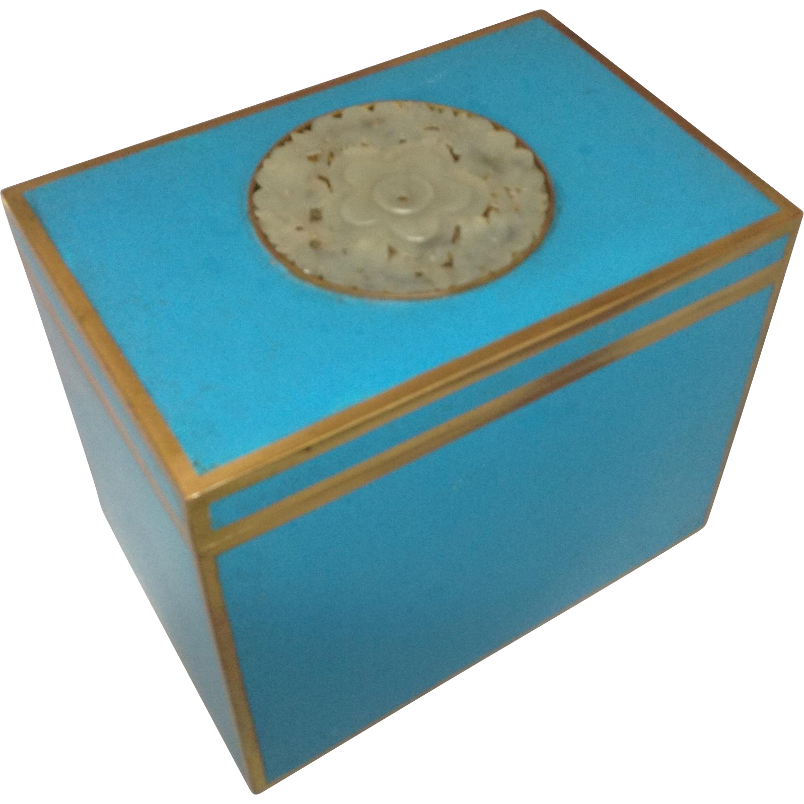 Chinese Robin's Egg Blue Enamel Box with Center Jade Medallion