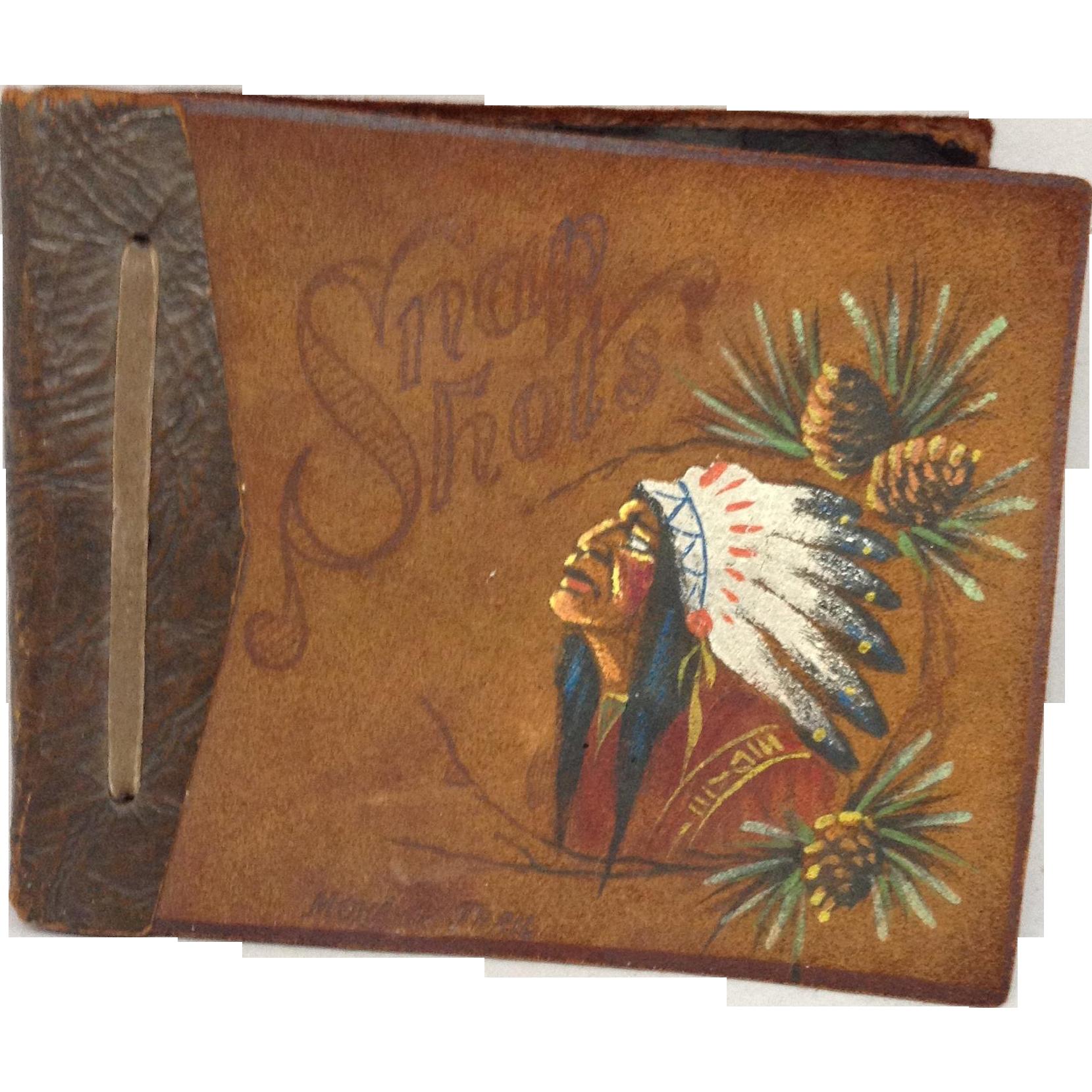 Leather Scrapbook Indian Design 1930's