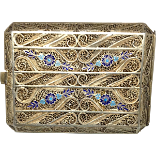 Beautiful Unmarked Filigree  and Enamel Case