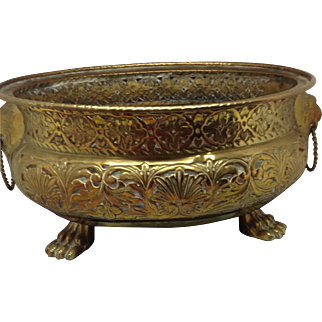 Large French Brass Reticulated Planter