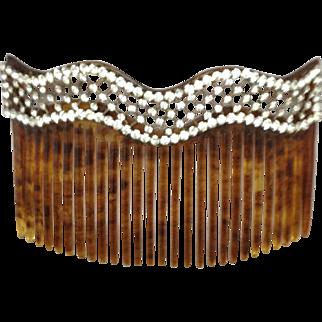 Hair Comb with Fine Rhinestone Design