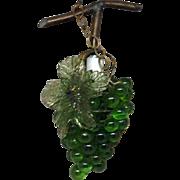 Green Glass Hanging Grape Light
