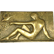 French Bronze Male Nude Plaque