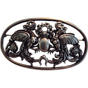 20th Century Large Peruzzi Silver Pin Brooch