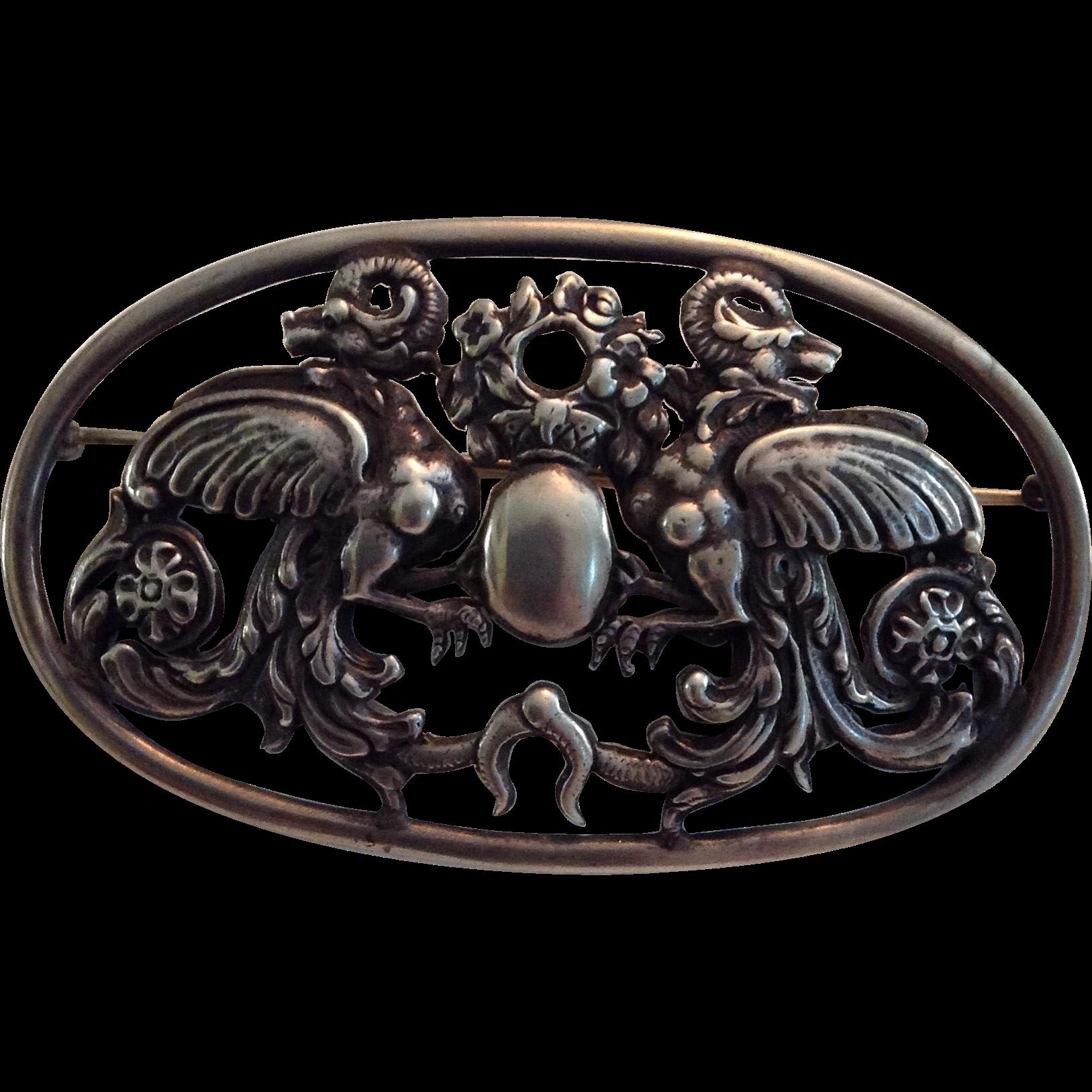 20th Century Large Peruzzi Silver Pin Brooch