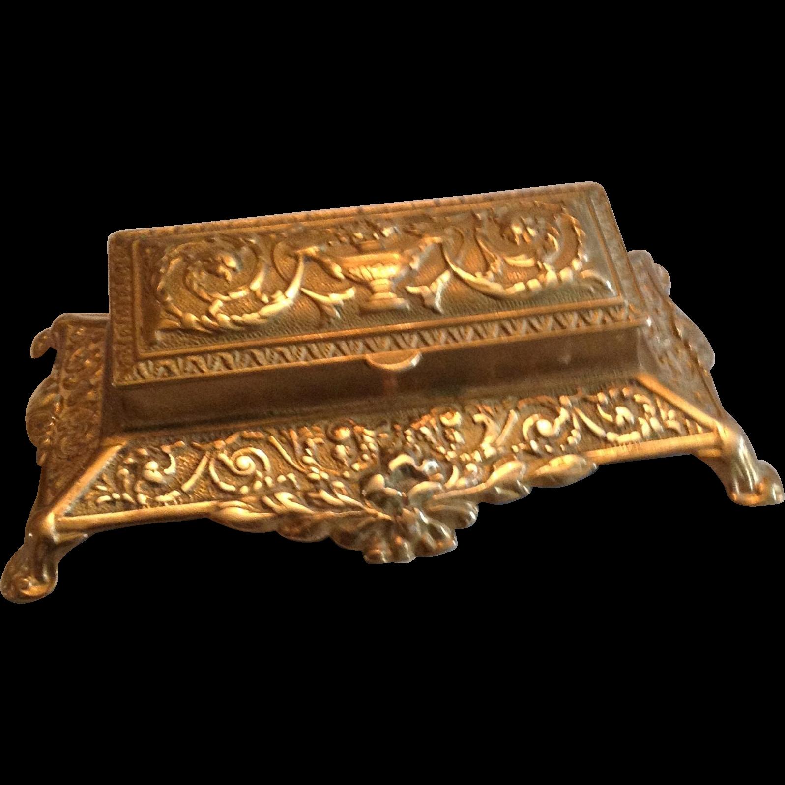 19th Century Decorative Brass Three Section Stamp Holder