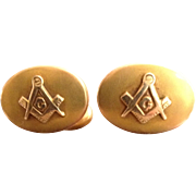 14 Karat Gold Masonic Cuff Links