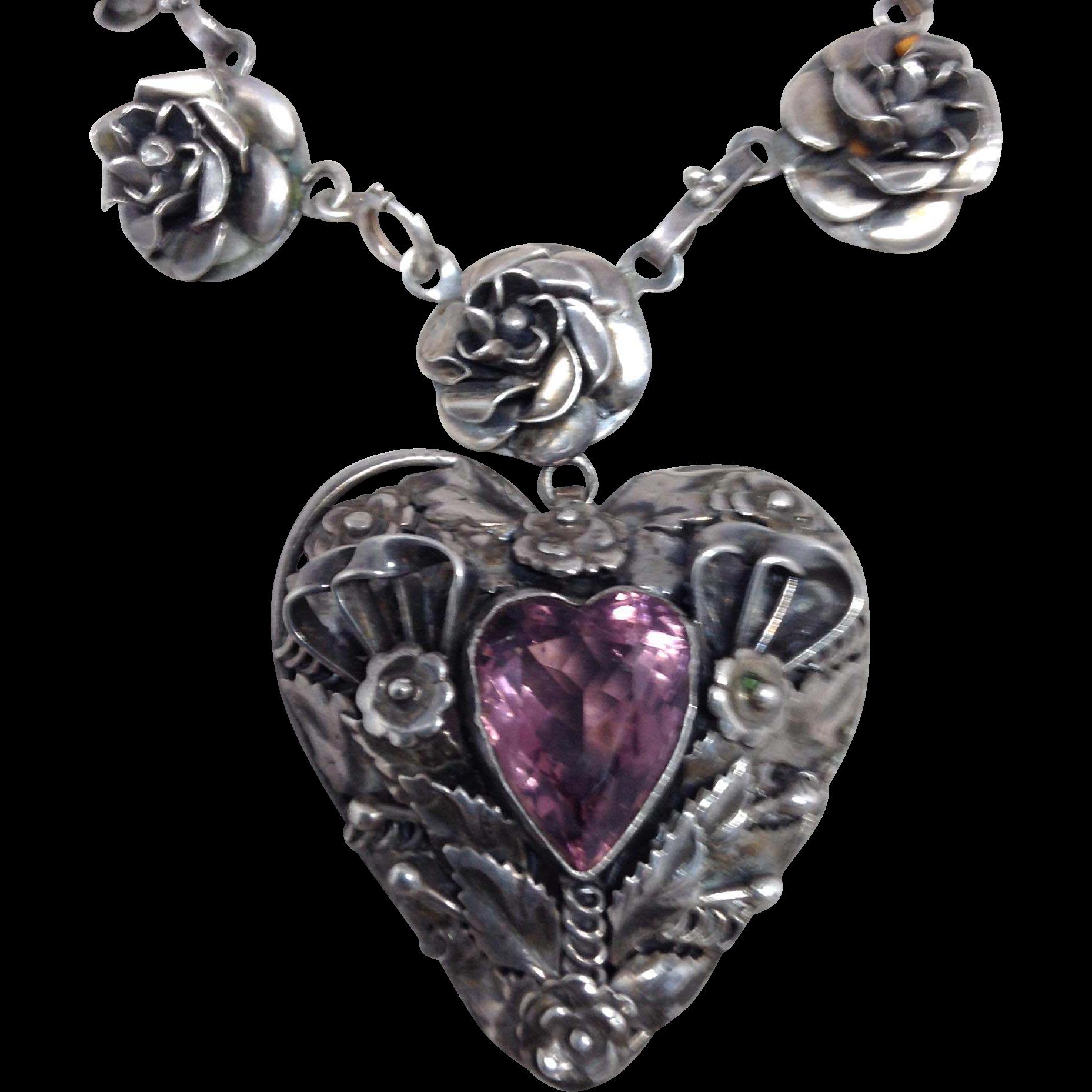 Fabulous Chunky HOBE Sterling Heart Bracelet with Purple Stone