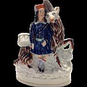 19th Century Staffordshire Figurine Drummer Boy With Goat