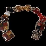 Victorian Scottish Agate & Sterling Bracelet