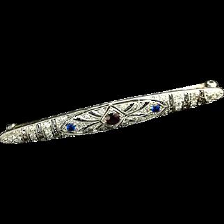 Edwardian 14k Diamond, Garnet, and Sapphire Bar Pin