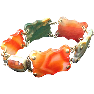Scottish Victorian Agate and Pinchbeck Bracelet