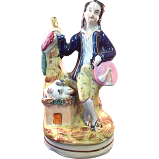 Victorian Staffordshire Figure, Boy with Pets