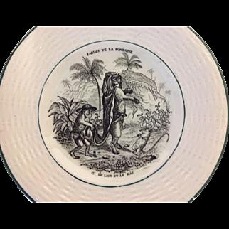 Vintage Child's French Fable Plate....Le Lion Et Le Rat