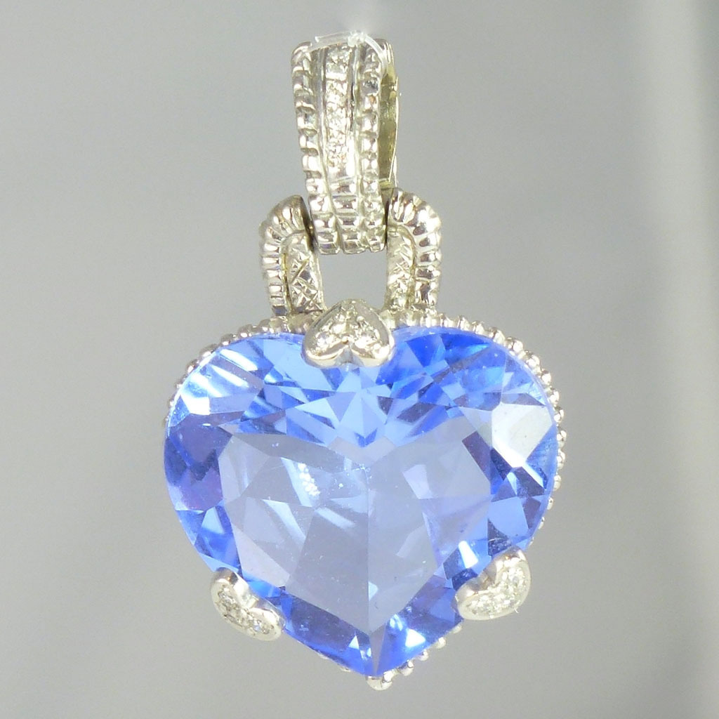 Vintage Blue Quartz Diamond & 18kt White Gold Heart Pendant