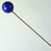 Antique Austrian Circa 1870 Lapis Lazuli & 14kt Gold Stickpin