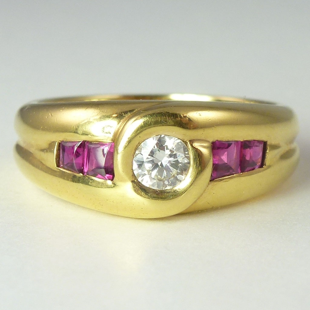 Vintage French Diamond Ruby & 18kt Gold Band Ring