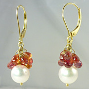 Fabulous Vintage Orange Sapphire Cultured Pearl & 18kt Gold Drop Earrings