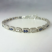 Exquisite 1.93cttw Sapphire Diamond & 14kt White Gold Line Bracelet