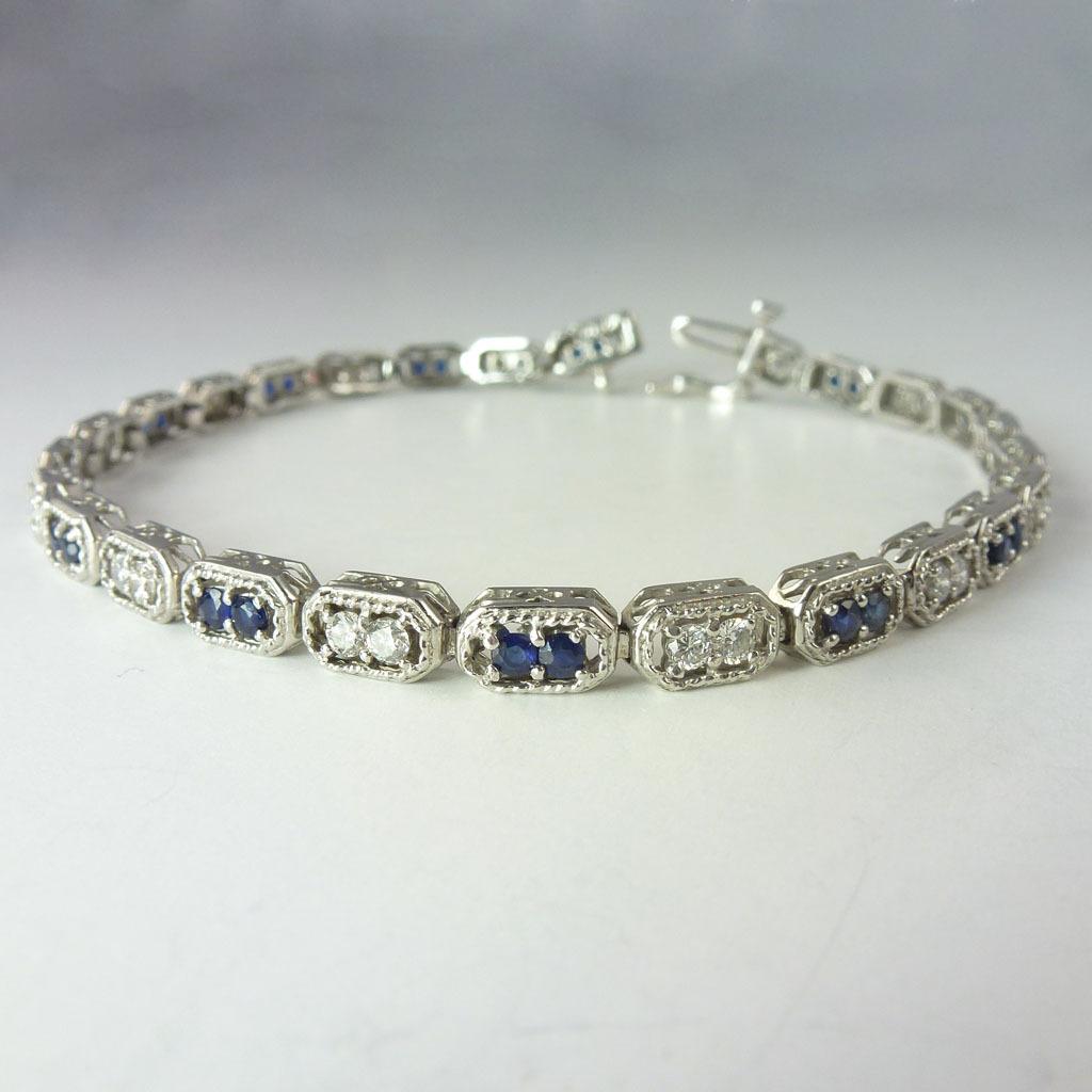 Exquisite 1.93cttw Sapphire Diamond & 14kt White Gold Line Bracelet