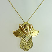 Unique Victorian 14kt Gold Pendant/Brooch & 14kt Gold Chain