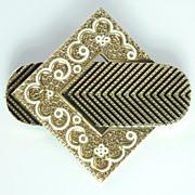 Victorian Taille D'Epargne Enamel & 14kt Gold Pendant/Brooch