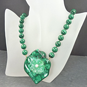 1980s Malachite Bead Carved Chrysoprase Cultured Pearl & 14kt Gold Pendant-Necklace