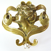 Art Nouveau Mabe Pearl & 10kt Gold Brooch/Pin