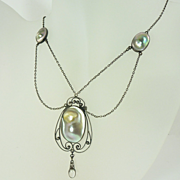American Art Nouveau Abalone Blister Pearl Moonstone & Sterling Silver Necklace by Foster & Bailey