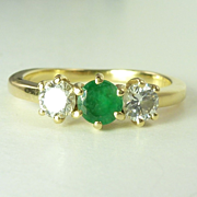 Sparkling Vintage 0.57cttw Emerald Diamond & 18kt Gold Three Stone Ring