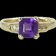 Vintage Amethyst Diamond & 14kt Gold Ring