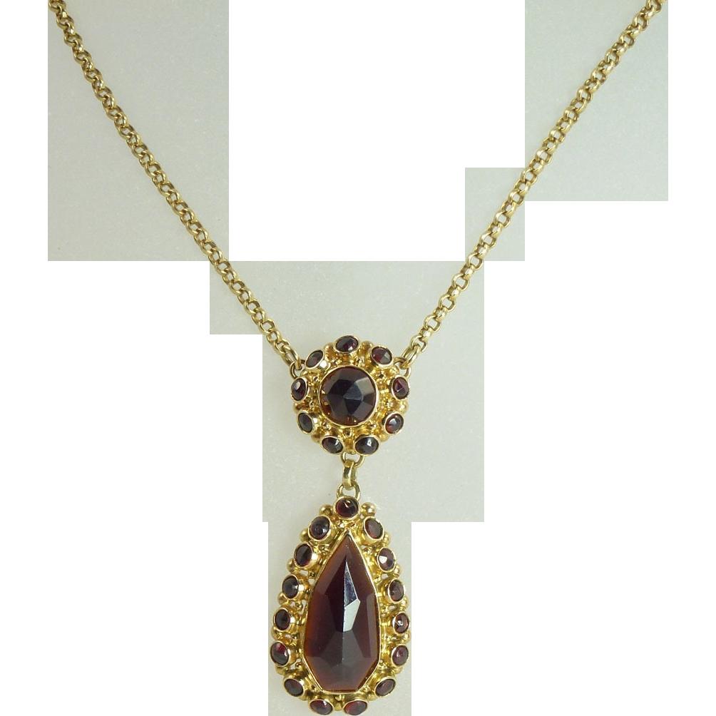 vintage cut hessonite garnet 14kt gold necklace sold