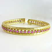 Vintage 3.84ct tw Ruby & 18kt Gold Line Bracelet
