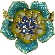 Exquisite Tiffany & Co. Vintage 1960s Natural Sapphire Enamel & 18kt Gold Pin