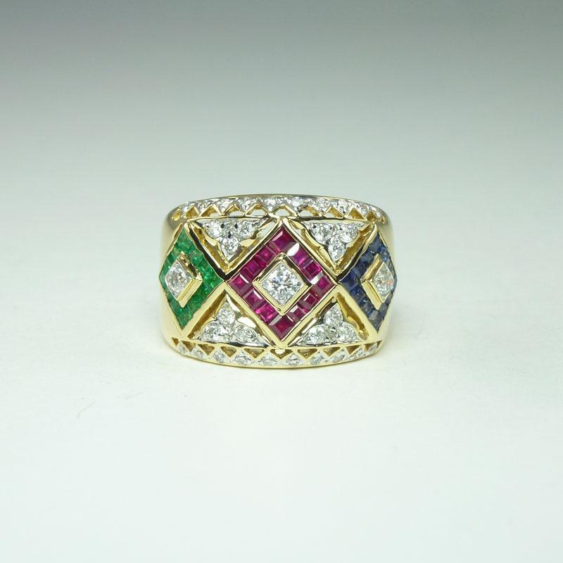 Glamorous Vintage Ruby Emerald Sapphire Diamond & 18kt Gold Band Ring