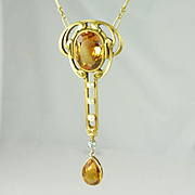 Beautiful Art Nouveau Citrine, Diamond, Seed Pearl & 14kt Gold Lavaliere Necklace