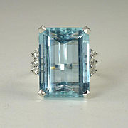 Stunning 1950s 23.0ct Aquamarine Diamond & 18kt Gold Cocktail Ring