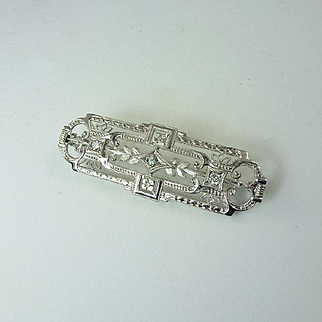 Art Deco Diamond & 14kt Gold Panel Brooch