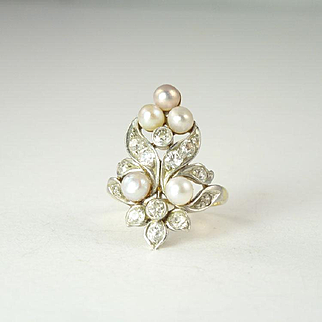 Marcus & Co. Edwardian Diamond, Pearl, Platinum & 14kt Gold Ring