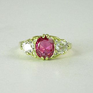 Certified Untreated 1.0ct Burmese Ruby, Diamond & 18kt Gold Vintage Ring