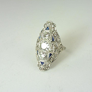 Dramatic Art Deco 3.00cttw Diamond, Sapphire & Platinum Ring