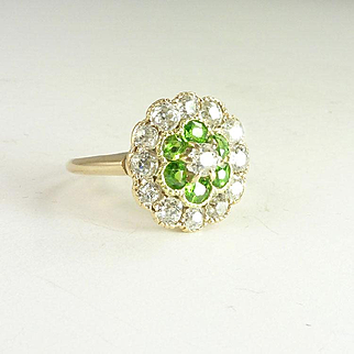 Edwardian Demantoid Garnet Diamond & 14kt Gold Ring