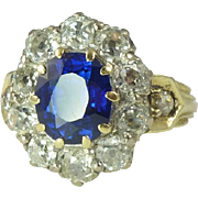Rare Edwardian Certified Untreated Natural 2.60ct Blue Sapphire, Diamond, 14kt Gold & Platinum Ring