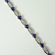 Gorgeous Sapphire, Diamond & 18kt Gold Line Bracelet, circa 1990