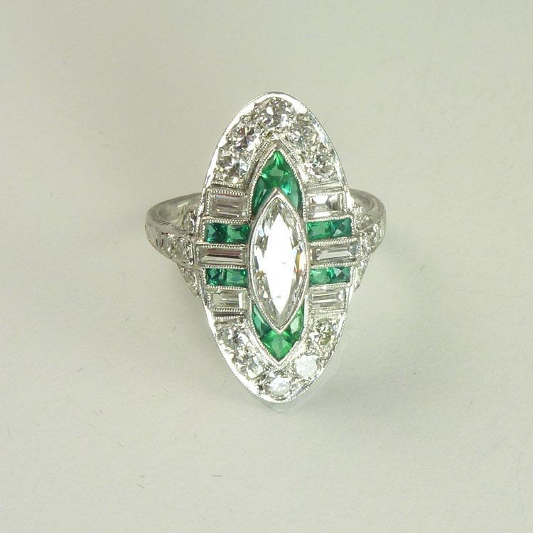 Stunning Art Deco Diamond Emerald & Platinum Navette Ring